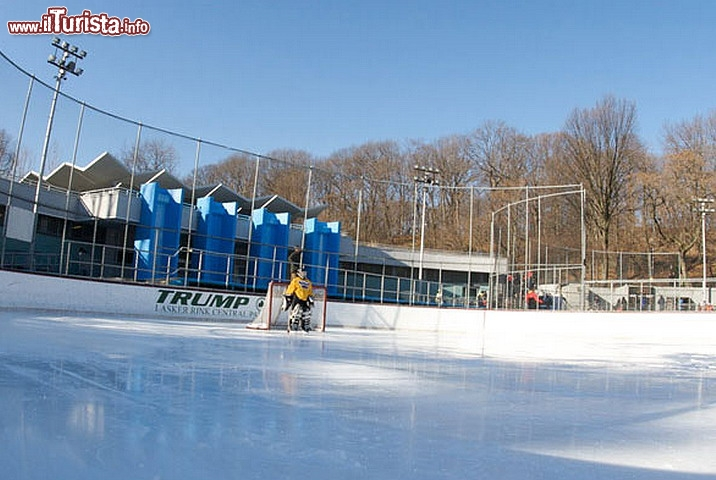 Immagine Trump Ice Rink a New York CIty, Stati Uniti. In attesa della partita di hockey sul ghiaccio al Trump Ice Rink di Central Park