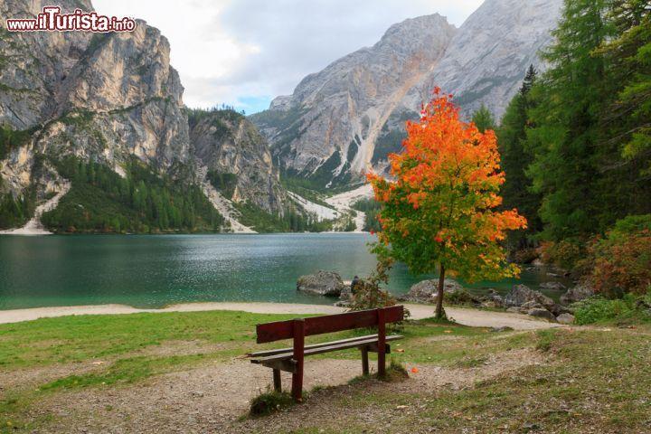 Escursione sul lago di braies in autunno alto foto for Casetta sul lago catskills ny