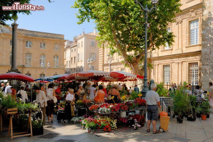 mercato in piazza ad aix en provence francia foto. Black Bedroom Furniture Sets. Home Design Ideas