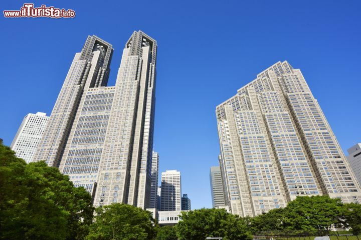 Immagine Il Metropolitan Government Office Building di Tokyo nel quartiere di Shinjuku a fianco del central park - © Imagepocket / Shutterstock.com