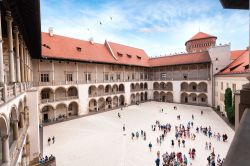 The inner courtyard of the Wawel Castle in Krakow, Poland. Renaissance