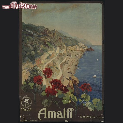 Amalfi e la sua costa in manifesto d'epoca disegnato dall'artista Borgoni Mario - Copyright � The Boston Public Library's Print Department