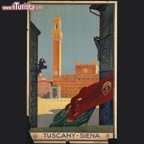 Siena e piazza del Campo, in questo poster vintage del 39 - Copyright � The Boston Public Library's Print Department