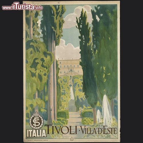 Tivoli. Villa d'Este in manifesto presumibilmente stampato tra il 1910 e il 1959 - Copyright � The Boston Public Library's Print Department
