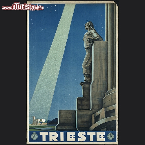 Trieste in poster del 1938 dell'ENIT: illuminato sullo sfondo il Castello di Miramare. Illustrazione chiaramente di periodo fascista! - Copyright � The Boston Public Library's Print Department