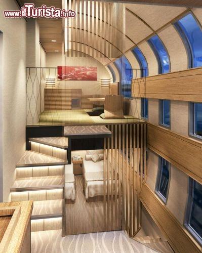 Particolare della camera da letto del treno di lusso che solcherà ...