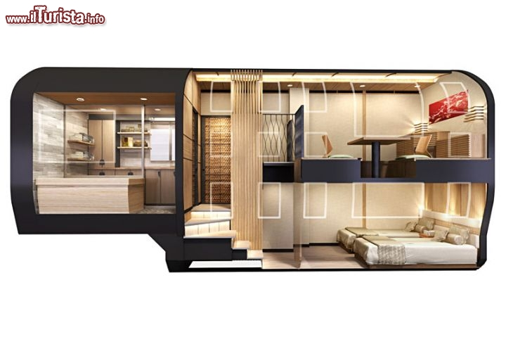 Il vagone letto di una delle 10 cabine del treno a sette for Design di cabine di lusso